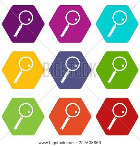 Loupe Icon Set Many Color Hexahedron Isolated On White Vector Illustration