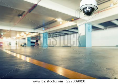 Cctv Security Camera Observation And Monitoring In The Car Parking.