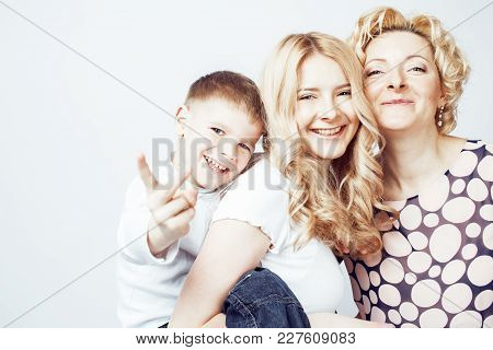 Happy Smiling Family Together Posing Cheerful On White Background, Lifestyle People Concept, Mother