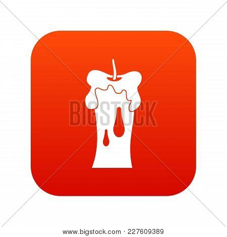 Waxen Candle Icon Digital Red For Any Design Isolated On White Vector Illustration