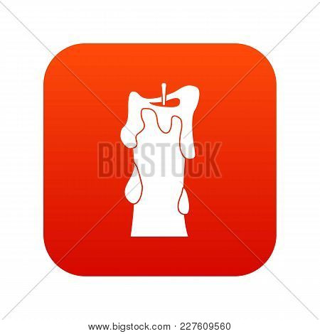 Thick Candle Icon Digital Red For Any Design Isolated On White Vector Illustration