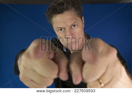 Man Looking Straight At You, Pointing Fingers