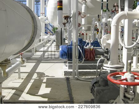 Centrifugal pumps that pump gasoline. Pump refinery. Oil refinery. Equipment for primary oil refining. poster