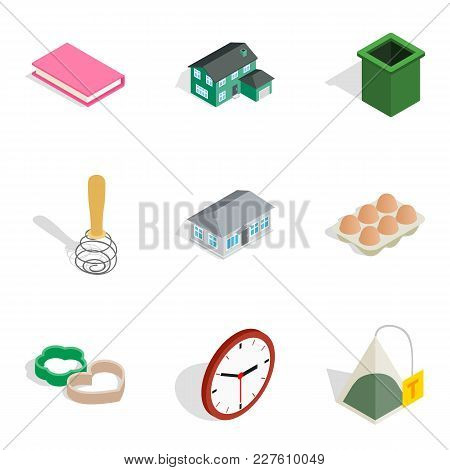 Home Environment Icons Set. Isometric Set Of 9 Home Environment Vector Icons For Web Isolated On Whi