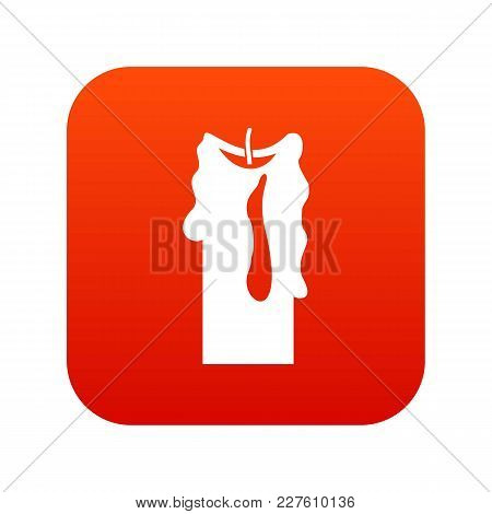 Decorative Candle Icon Digital Red For Any Design Isolated On White Vector Illustration
