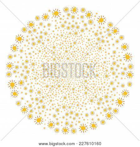 Light Bulb Festive Sphere. Object Pattern Made From Random Light Bulb Icons As Exploding Circle. Vec