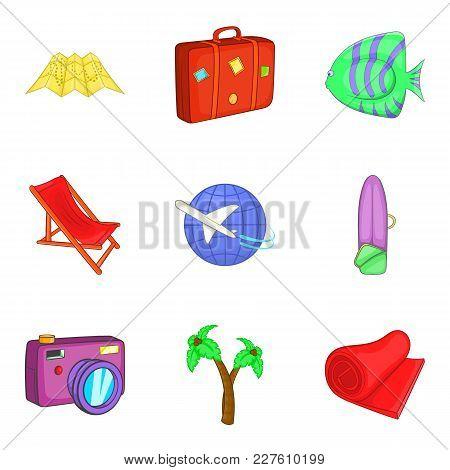 Sea Tourism Icons Set. Cartoon Set Of 9 Sea Tourism Vector Icons For Web Isolated On White Backgroun