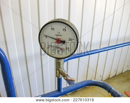The Premises Of The Oil Plant, Krasnodar, Russia - February 21, 2017: Manometer, Oil Refinery. Equip