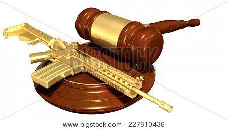 Gun Regulation Law Concept 3D Illustration