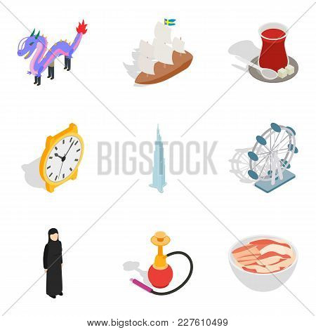 Cultural Variety Icons Set. Isometric Set Of 9 Cultural Variety Vector Icons For Web Isolated On Whi