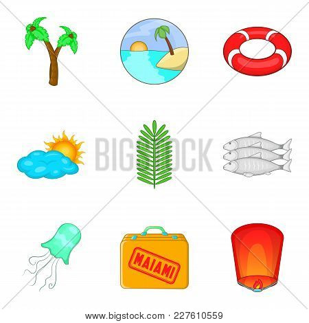 Naval Adventure Icons Set. Cartoon Set Of 9 Naval Adventure Vector Icons For Web Isolated On White B