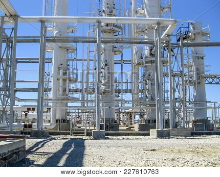 Rectification Columns Of The Oil Refinery. Refinery Equipment. Oil Refinery. Equipment For Primary O