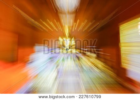 Metaphysical Effect Buddhist Abstract Zoom Blur Inside Wooden Buddhist Temple With Large Golden Budd