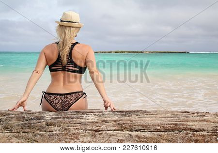 Beautiful Blonde Woman Relaxes On A Tropical Beach