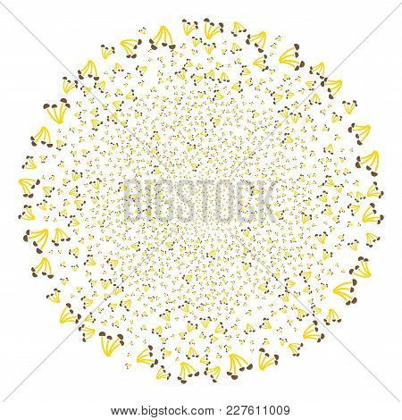 Mushrooms Explosion Circle. Object Pattern Constructed From Scattered Mushrooms Design Elements As E