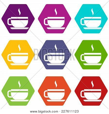 Tea Cup And Saucer Icon Set Many Color Hexahedron Isolated On White Vector Illustration
