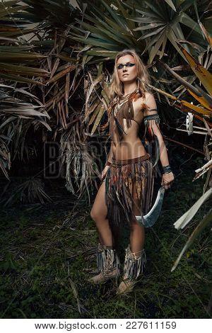 Amazon Warrioir Fashion Model Makeup Outdoor Portrait