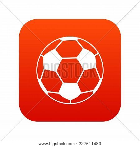 Soccer Ball Icon Digital Red For Any Design Isolated On White Vector Illustration