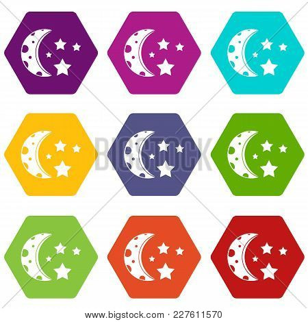 Starry Night Icon Set Many Color Hexahedron Isolated On White Vector Illustration