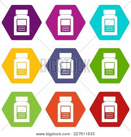 Medicine Bottle Icon Set Many Color Hexahedron Isolated On White Vector Illustration