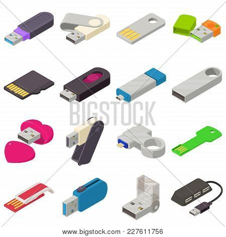 Usb Flash Drive Icons Set. Isometric Illustration Of 16 Usb Flash Drive Vector Icons For Web