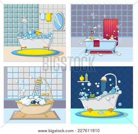Bathtub Foam Shower Banner Concept Set. Cartoon Illustration Of 4 Bathtub Foam Shower Vector Banner