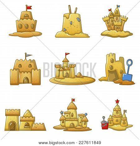 Sandcastle Beach Icons Set. Cartoon Illustration Of 9 Sandcastle Beach Vector Icons For Web