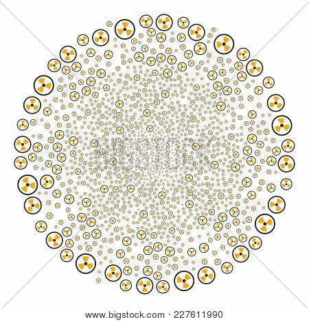 Radioactive Burst Circle. Object Pattern Constructed From Scattered Radioactive Icons As Fireworks R