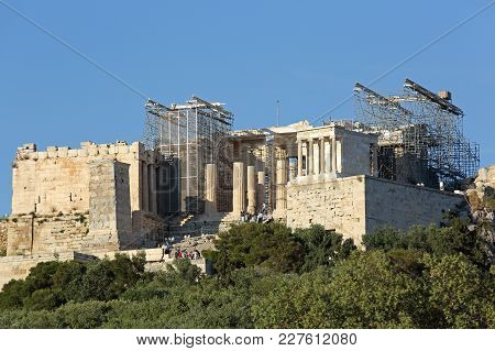 Athens, Greece - May 04, 2015: Reconstruction Of Acropolis Ancient Ruins Unesco World Heritage Site