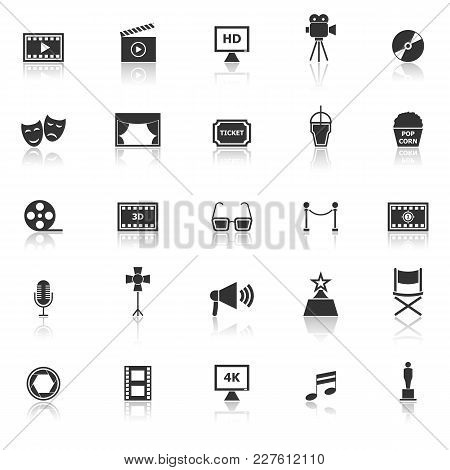 Movie Icons With Reflect On White Background, Stock Vector