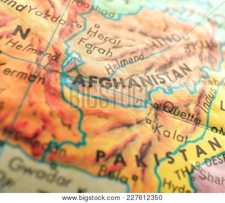 Afghanistan Isolated Focus Macro Shot On Globe Map For Travel Blogs, Social Media, Web Banners And B
