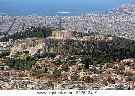 Athens, Greece - May 02, 2015: Aerial Cityscape From Mount Lycabettus In Athens, Greece.