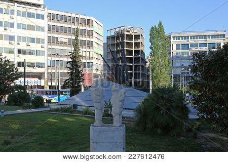 Athens, Greece - May 04, 2015: Fallen Aviators Monument Icarus At Karaiskaki Street In Athens, Greec