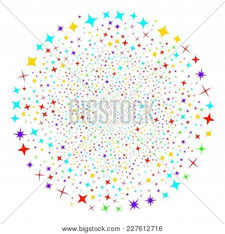 Shine Stars Festive Round Cluster. Object Pattern Combined From Scattered Shine Stars Pictograms As