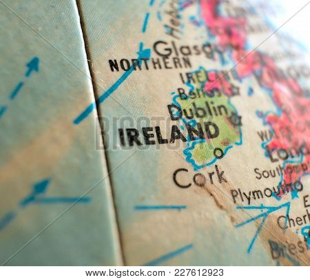 Ireland Isolated Focus Macro Shot On Globe Map For Travel Blogs, Social Media, Web Banners And Backg