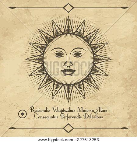 Sun Retro Emblem. Vintage Antique Drawing Sun Face Sketch, Old Engraving Vector Illustration