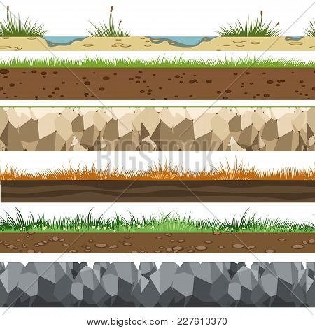 Soil Horizontal Patterns. Underground Of Land Layers With Rocks, Limestone And Grass Gaming Backgrou