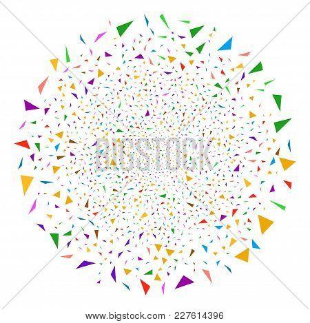 Triangular Fragments Festive Sphere. Object Pattern Combined From Random Triangular Fragments Design