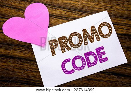 Conceptual Hand Writing Text Showing Promo Code. Concept For Promotion For Online Business Written O