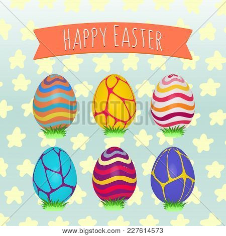 Easter Eggs Set. Colorful Holiday Patterns. Realistic 3d Easter Eggs On Decorative  Background. Spri
