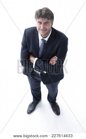 Top view of a successful businessman looking up