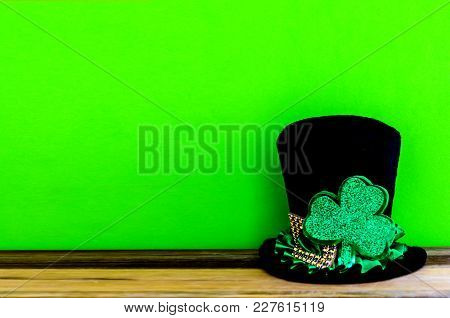 St. Patricks Day Background With Traditional Symbols - Leprechaun Hat And Clover