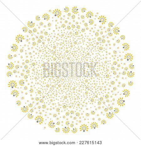 Light Bulb Explosion Globula. Object Pattern Created From Random Light Bulb Pictograms As Exploding