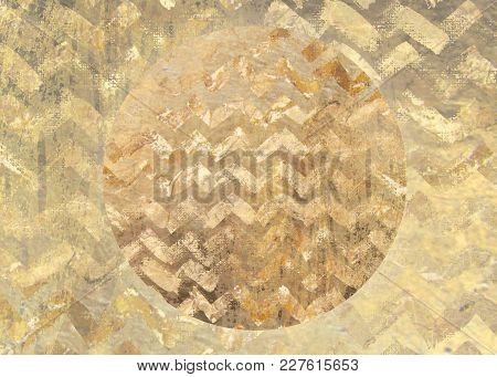 Golden Pattern Grungy Textured Circle Background
