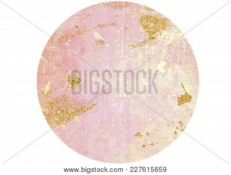 Gradient Pink Grungy Textured Circle Background With Glitter Effect