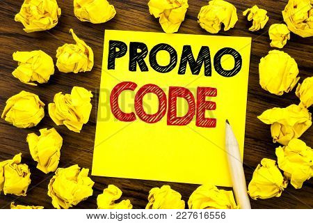 Writing Text Showing Promo Code. Business Concept For Promotion For Online Business Written On Stick
