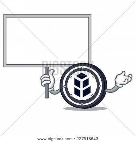 Bring Board Bancor Coin Character Cartoon Vector Illustration