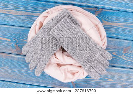 Woolen Gloves And Shawl For Woman On Boards, Womanly Clothing And Accessories For Autumn Or Winter