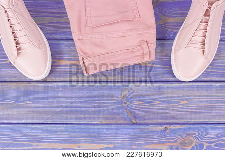 Womanly Clothing And Accessories, Copy Space For Text Or Insription On Old Boards