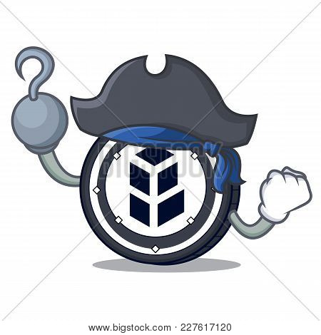 Pirate Bancor Coin Character Cartoon Vector Illustration